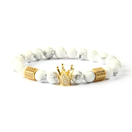 Wholesale imperial copper - Powerful Men's Jewelry Wholesale 8mm White Marble Stone Beads With Clear Cz Imperial Crown & Stoppers Bracelets For Gift