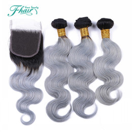 Wholesale two toned colored weave - 8A 1B Grey Brazilian Ombre Hair Bundles With Silver Grey Lace Closure Two Tone Colored Hair Weave With Closure Body Wave 4Pcs Lot