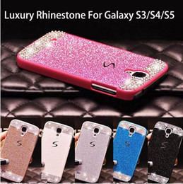 Wholesale S3 Crystal Bling Case - Glitter powder rhinestone bling luxury diamond clear crystal hard back cover For Samsung Galaxy S5 S4 S3 Sparkling Case Cover