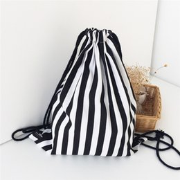 Wholesale Hot Girls String Sexy - Hot Selling Black-and-white Stripes Girls Canvas Backpack Bags Bundle Port Package Women Sexy Outdoor Sports Backpacks