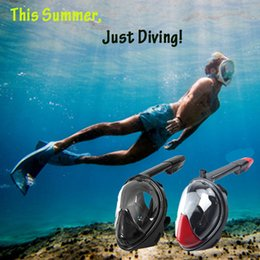 Wholesale Full Face Diving - Wholesale- 2017 New Full Face Snorkeling Diving Mask 180 Degree Wide Viewing Swimming Masks Liquid Silicone Set for Agents