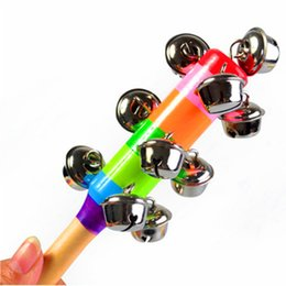 Wholesale rainbow plants - Hot Sale Cartoon Baby Rattle Rainbow Rattles With Bell Wooden Toys Orff Instruments Educational Toy Wholesale