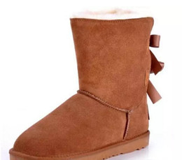 Wholesale Bow Winter Boots - High quality NEW Australian classic wgg winter boots leather belly bow women's shells butterfly boots
