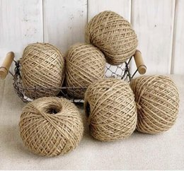Wholesale 2mm Natural Jute Twine - Jute Twine 30Meter Natural Sisal 2mm Rustic Tags Wrap Wedding Decoration Crafts Twisted Rope String Cord Events Party Supplies free shipping