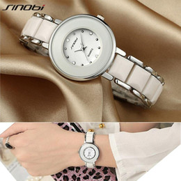 Wholesale Imitated Dress - SINOBI Brand Women's Watch Dress Imitated Ceramic Ladies Luxury Fashion Bracelet Watches with Fine Steel Strap