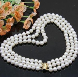 Wholesale Triple Strand Pearl Necklace 19 - Beautiful triple strand 9-10 mm natural south sea white pearl necklace 17-19 inch 14K gold clasp