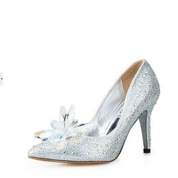 Wholesale Wedding Dresses Cinderella Style - Cinderella Style Rhinestone Wedding Shoes Woman Silver Stiletto Heel Pointed Toe Pumps Dress