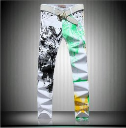 Wholesale Trouser Draw - Men's fashion personality cotton coloured drawing or pattern in the Korean version printed white denim trousers   28-38