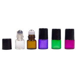 Wholesale Amber Bottles - 1ml Empty Roll Glass Bottle Metal Roller Ball Amber Bottle Essential Oil Liquid Perfume Sample Bottle