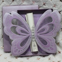 Wholesale Customize Purple Invitation Cards - 50Pcs Wholesale Free Shipping Butterfly Scroll Wedding Invitations Elegant Customized Wedding Invitation Card Purple In A Box
