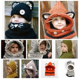 Wholesale Cute Shawls Scarves - Kids Warm Winter Neck Wrap Fox Scarf Caps Cute Children Wool Knitted Hats Baby Girls Shawls Hooded l Beanie KKA2839