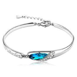 Wholesale Platinum Plated Silver Bracelet - Hot Selling Silver Blue crystal charm Bracelet , Luxury Austria Crystal Platinum Plated bangle Bracelet for women wedding engagement gift