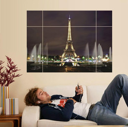 Wholesale Posters Eiffel Tower - 70*100CM Puzzle Eiffel Tower 3D Wall Stickers Removable Creative Murals Bedroom Living Room Window Decorative Wall Sticker Waterproof Poster