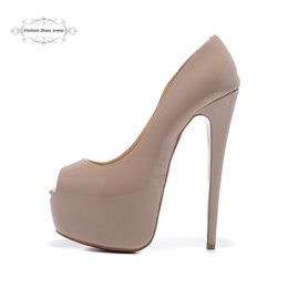 Wholesale Sexy Beige Platform Heels - Size 35-41 Women's 16cm High Heels Beige Patent Leather Peep Toe Red Bottom Pumps, Ladies New Fashion Platform Wedding Sexy Shoes