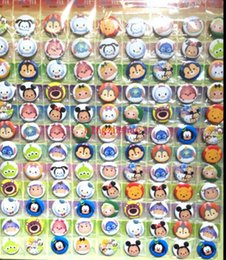 Wholesale Character Pins - Free Shipping 5 Sheet 540 Pcs Cartoon Animal Heads Character Badge TSUM tsum Round Button Pin Party Favor--25MM