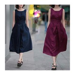 Wholesale Linen Dresses Large - Summer fashion women clothing Europe America style sleeveless large size dress belt pure linen loose cotton dress