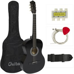 Wholesale Guitar Tuners Picks - New Beginners Acoustic Guitar With Guitar Case, Strap, Tuner and Pick Black