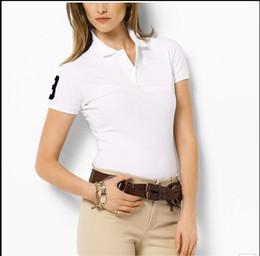 Wholesale Womens Xxl Shirt - 2018new M-XXL Women's Polos Shirt Big Horse crocodile camisa Solid Short Sleeve Summer Casual Camisas Polo womens Free Shipping good quality