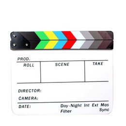 """Wholesale White Erase Boards - Wholesale- Film Movie Clapper Board Slate Commlite Clapboard Dry Erase Director 9.6 * 11.7"""" with Colorful  White and Black Sticks"""