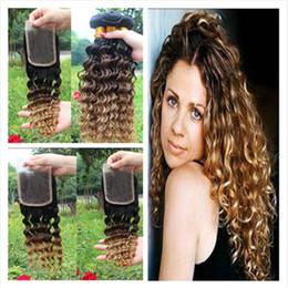 cheveux chéri blond 7a Promotion Vague profonde malaisienne ondulée Ombre Extensions de cheveux humains # 1B 4 27 Ombre Cheveux Weave Bundles avec trois tons Ombre dentelle fermeture 4Pcs Lot