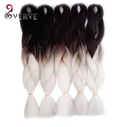 Wholesale Jumbo Braid Hair Colors - 1Pcs Ombre Kanekalon Jumbo Synthetic Braiding hair 24inch 100g Black&white two Tone colors jumbo Braids Hair Extensions