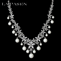 Wholesale Pearl Cluster Statement Necklace - LA PASION BRANDImitation Pearl Statement Necklace For Women Marquise Cut Zirconia Cluster Wedding Jewelry Of 18k White Gold Plated