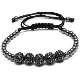 Wholesale 24k Rose Gold Chain - Arjandas Men Bracelets Famous Brand Bracelets 8mm Pave Setting Black CZ Beads & 24K Rose Gold 4mm Round Beads Braiding Bracelet