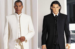 Wholesale Groom Tuxedos Black Mandarin Lapel - 2016 Men Wedding Suits Custom Design Size and Color No Button Groom Tuxedos Groomsmen Mandarin Collar (Jacket+Pants+Vest )