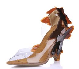 Wholesale Beautiful Wedge Heel Red - wholesale New Female Beautiful Butterfly Sandals Elegant Temperament High-Heeled Shoes Taste Dinner Sexy SM W1 Shoes With Slope free shippin