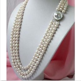 """Wholesale Triple Strand Pearl Necklace 19 - charming triple strand 8-9 mm natural south sea white pearl necklace 17-19"""" @"""