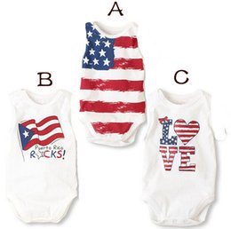 """Wholesale Summer Body Suit Baby Boy - Wholesale-summer baby boy and girl body suits 4th of july onesie stripes """"Love"""" and stars pattern"""