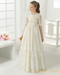 Wholesale Girls Pink Lace Shirt - 2016 Honey Qiao First Communion Dresses Lace Flower Girl Dresses For Wedding Holy Communion Dresses Pageant Gowns For Girls Faithfully