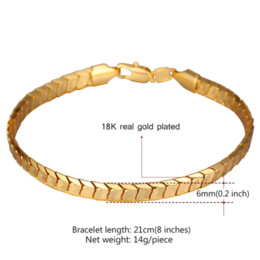 Wholesale Scales Bead - U7 Scale Chain Bracelets For Men Jewelry 18k Real Gold Platinum Plated Mens Bracelets 2016 Fashion Indian Jewelry Wholesale H811