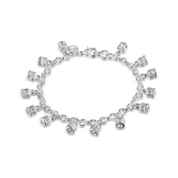"Wholesale Multiple Chain Bracelet - Factory Outlet Wholesale 925 Sterling Silver Multiple Crown Charms Bracelet 8"" Silver Jewelry"