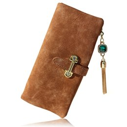 Wholesale Brown Suede Purse - Fashion Long Lady Leather Small Wallet Female Coin Purse Women Wallets And Purses Phone Suede Credit Card Holder Money Clutch