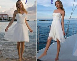 Wholesale Strapless Knee Length Wedding Dress - Chic Short Beach Wedding Dresses 2016 Strapless Beaded Chiffon Tulle Summer Bridal Dresses Simple Bride Reception Dresses Two Styles A And