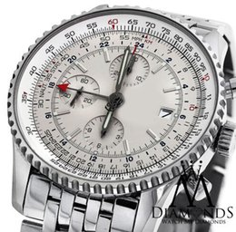 Wholesale Oval Watch Faces - 2016 LUXURY WATCH wristwatch BRAND NEW World GMT White Face Chronograph A24322 46mm Watch Automatic Watch With BOX Men's Watches