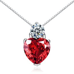 Wholesale Stone Jewellery China - genuine 925 sterling silver red heart pendant red zircon stone jewellery stamped s925 China factory wholesale