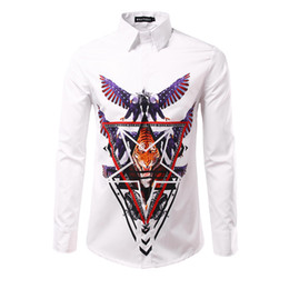 Wholesale Usa Eagle Shirt - 2017 New Arrival Men Print 3D USA eagle Shirts Male Casual Slim fit Full Sleeve Shirts camisa masculina Shirt men