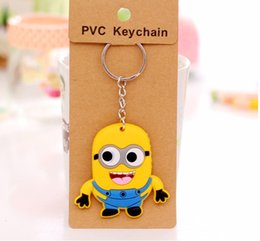 Wholesale Minion Customs - Minions Rubber Keychains Yellow people Promotional Keyrings Gifts Custom Design Free shipping by DHL good gift