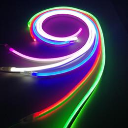 Wholesale Led Flex Tube Rope Light - RGB LED Neon Tube Flex Light Waterproof Outdoor Flexible Neon Lighting Red White Green Blue led neon rope jacket AC 110V