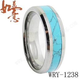 Wholesale Turquoise Ring Man Silver - Turquoise Inlay Tungsten wedding bands RINGS JEWELRY for men WRY-1175 8mm width