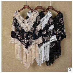 Wholesale Swimwear Girl Sunscreen - Vintage V neck beach cover-ups crochet blouse tassel sexy Strapless blouse girl summer women beach swimwear bikini cover-ups sunscreen shirt
