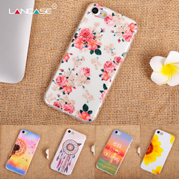 Wholesale Iphone Back Design - For iPhone 7 Beautiful Floral Soft TPU Case Campanula Sunflower Dandelion Flower Painting Gel Phone Back Cover for iphone7 11 Designs