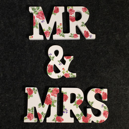 Wholesale Floral Table Decorations - 2017 New Wood Wedding Decorations in Floral MR & MRS Style High Quality Custom Made Wood Letters for Weddings