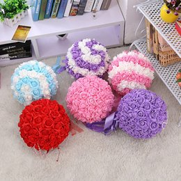 Wholesale Fake Flower Balls - 28cm Wedding Silk Flowers Ball Fake Flower Decorate Flower Artificial Flower for Wedding Garden Home Decor