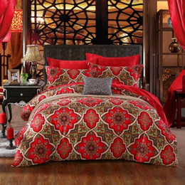 Wholesale Red Wedding Bedding Set - Chinese Classic Design Queen   King Size Long Staple Cotton Wedding Bedding Set   Duvet Cover Set