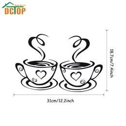 Wholesale kitchen tile decals - DCTOP Double Coffee Cups Wall Stickers Room Decoration Vinyl Art Wall Decals Adhesive Stickers On The Kitchen