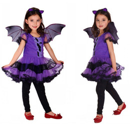 Wholesale Vampire Bats - Purple Batgirl Cosplay costume Girls Vampire dress for children Halloween party clothing for girls new years christmas Bat Dress