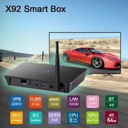 Wholesale Hot Tv - Best Android TV Box X92 2GB 16GB TV Box Amlogic S912 Smart TV Box fully loaded CODI 17.3 Bluetooth4.0 dual band WiFi Hot selling model